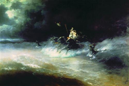 Travel of Poseidon by sea, Ivan Aivazovsk