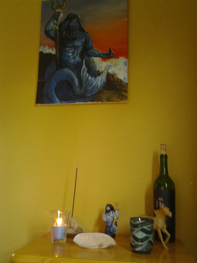Poseidon Hippios 2015 shrine, painting by Samantha Lykeia in background