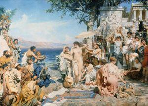 Phyrne at the Festival of Poseidon by henryk siemiradzki